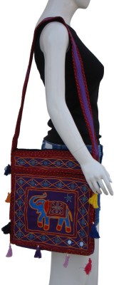 The Living Craft Women Multicolor Cotton Sling Bag