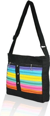 fashion 360 Girls, Women Black Canvas Sling Bag