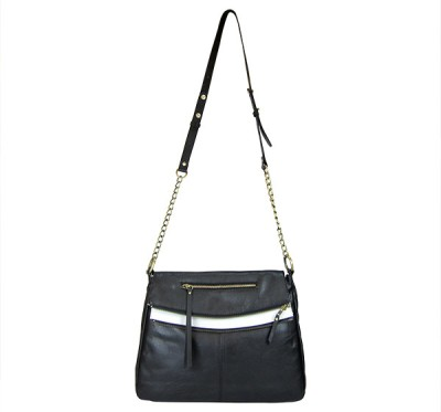 Indostyle Women Casual Black Genuine Leather Sling Bag