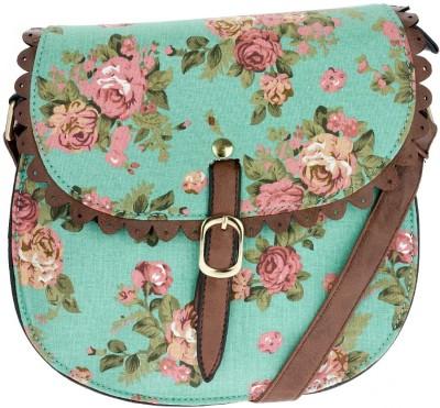 iva Women Green Leatherette Sling Bag