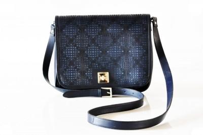 Dhruva Women Casual Blue Genuine Leather, Nylon Sling Bag