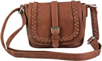 Ayeshu Girls Brown PU Sling Bag