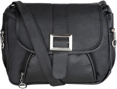 Fairdeals Women Black PU Sling Bag