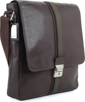 Hidesign Men, Women Casual Brown Genuine Leather Sling Bag