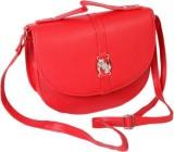 Kuero Women Red Leatherette Sling Bag