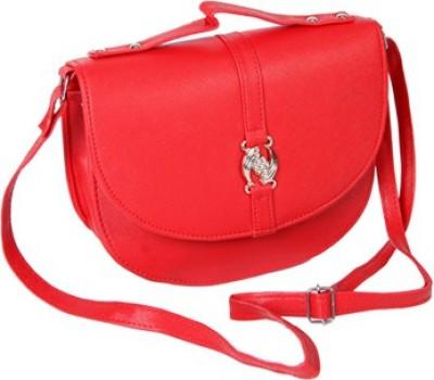 Kuero Women, Girls Red Leatherette Sling Bag