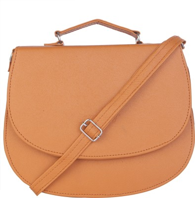 SkyWays Girls, Women Tan Leatherette Sling Bag