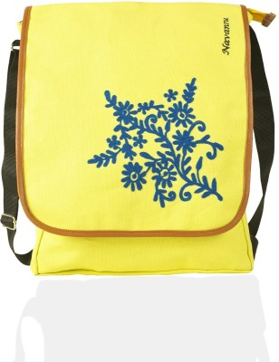NAVANSU Girls Yellow Canvas Messenger Bag