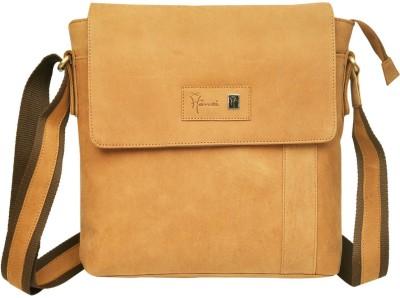 Hawai Men, Women Casual Brown Genuine Leather Sling Bag
