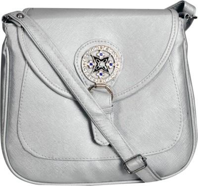 Triveni Women Grey Rexine Sling Bag