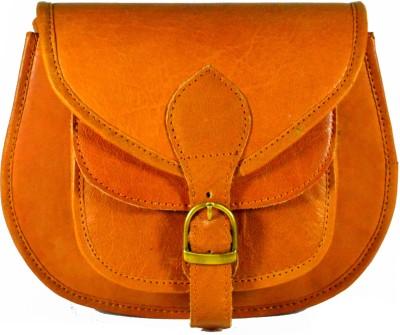 Adimani Women Tan Genuine Leather Sling Bag