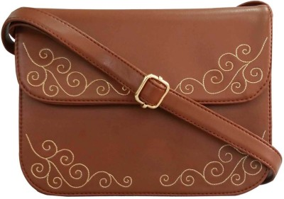 Toteteca Bag Works Women Brown Leatherette Sling Bag