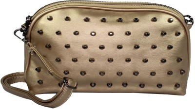 BagsHub Women Gold PU Sling Bag