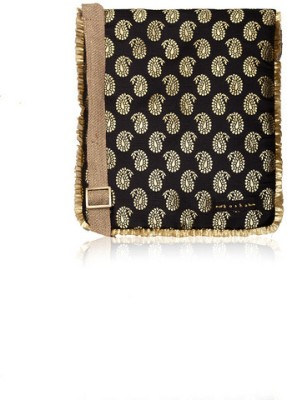 Kosha Women Casual Black Jute, Silk Sling Bag