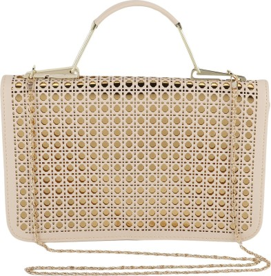 President Bags Women Evening/Party Beige, Gold Polyester Sling Bag