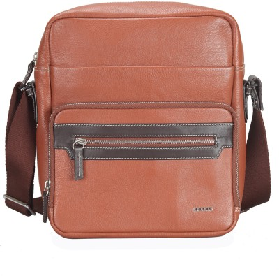 Adamis Men Casual Tan Genuine Leather Sling Bag