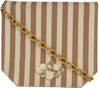 Berrypeckers Women Beige PU Sling Bag