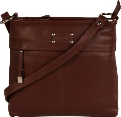 WeMe Women Brown Genuine Leather Sling Bag
