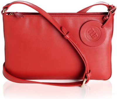 TLB Girls Casual Red Genuine Leather Sling Bag