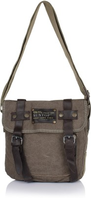 Suntop Men Brown Cotton, Canvas Sling Bag