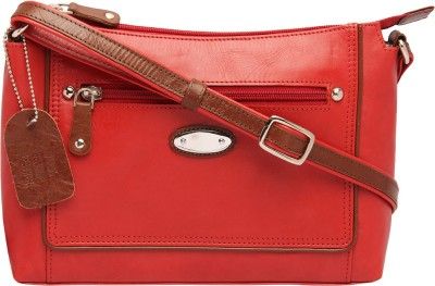 Supreme Leather Women Casual Red Genuine Leather Sling Bag