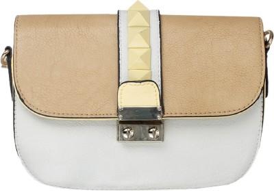 Riti Women Brown, White Polyester Sling Bag