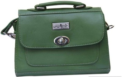 Checkmate Girls Casual Green Genuine Leather Sling Bag