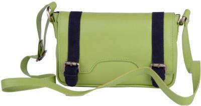 Fabulloso Women Green Genuine Leather Sling Bag