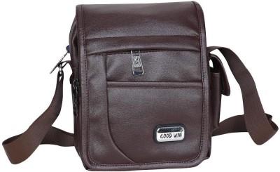 Good Win Men Casual Brown Leatherette Sling Bag