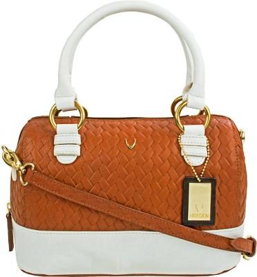 Hidesign Women Tan, White Genuine Leather Sling Bag