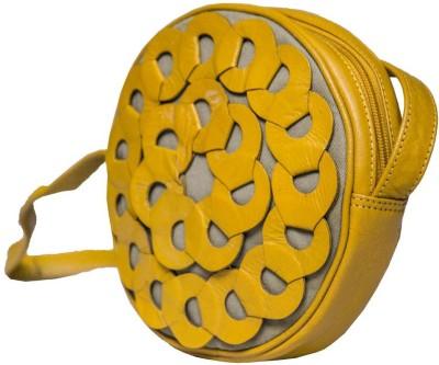 Klasse Women Casual Yellow Genuine Leather Sling Bag