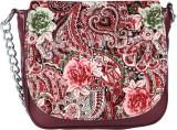 Dice Women Casual Maroon PU Sling Bag