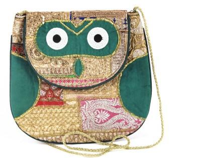 Dyuthi Creations Women Green Velvet Sling Bag
