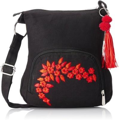 Shrih Women Black Canvas Sling Bag