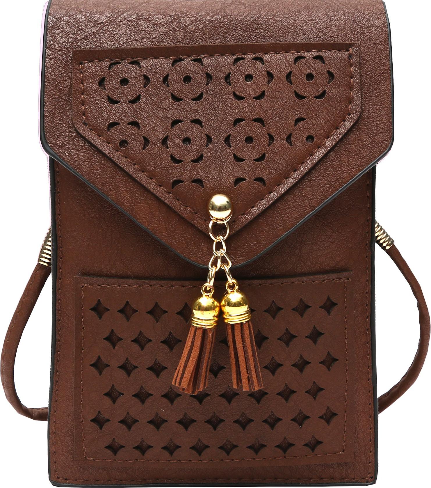 Sling bag below 500 - Hawai Girls Brown Pu Sling Bag