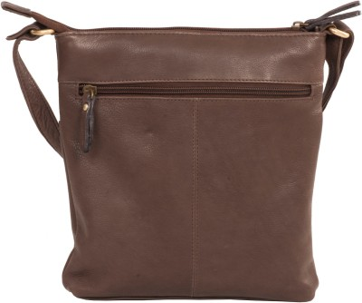 LeCobbs Women Casual Brown Genuine Leather Sling Bag