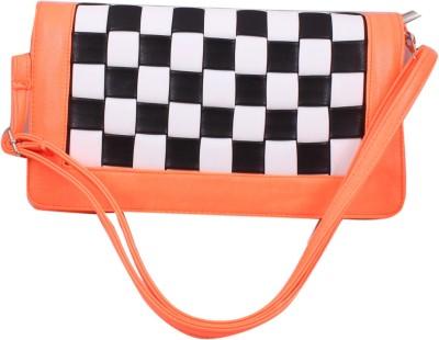 ARMADIO Girls Orange, Black, White Leatherette Sling Bag