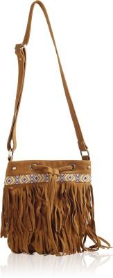 Carry on Bags Girls Tan Velvet Sling Bag
