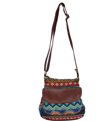 Ayeshu Girls Brown Canvas Sling Bag