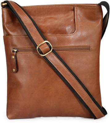 Teakwood Men Brown Genuine Leather Sling Bag