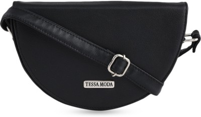 Tessa Moda Women Black Leatherette Sling Bag