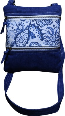 Angesbags Women Blue Canvas Sling Bag