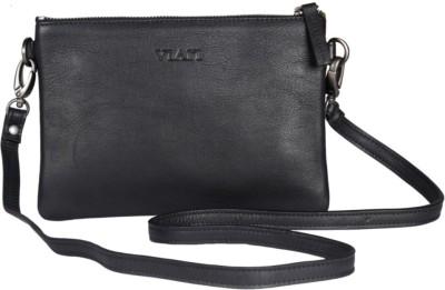 Viari Women Formal Black Genuine Leather Sling Bag
