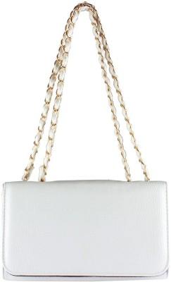 Fiza Women White Leatherette Shoulder Bag
