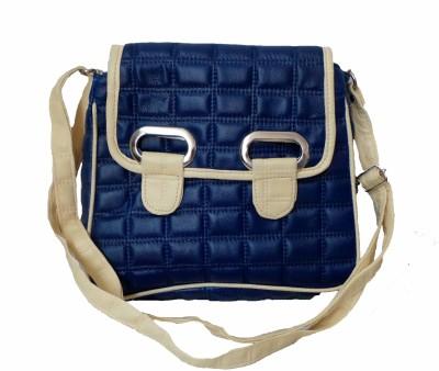 Modish Look Women, Girls Casual Blue, White PU Sling Bag