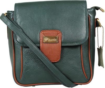 Mavin Boys, Girls Green Genuine Leather Sling Bag