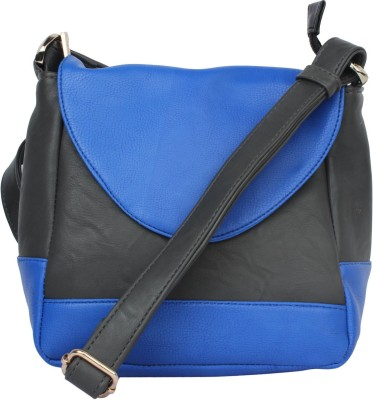 Ellis Women Casual Black, Blue PU Sling Bag