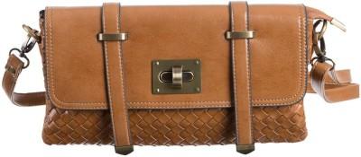 Peaubella Women Tan Leatherette Sling Bag