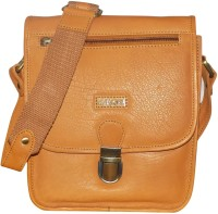 Kan Men & Women Tan Genuine Leather Messenger Bag