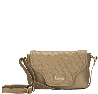 JUSTANNED Women Beige Genuine Leather Sling Bag